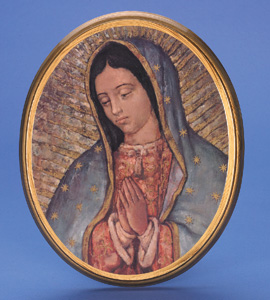 "Large Oval Wooden Our Lady of Guadalupe Plaque- 17"" Boxed"