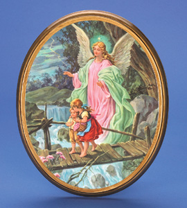 "Oval Wooden Guardian Angel Plaque- 17"" Boxed"