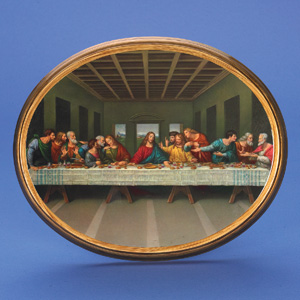 17 inch Oval wood picture with image of the Last Supper