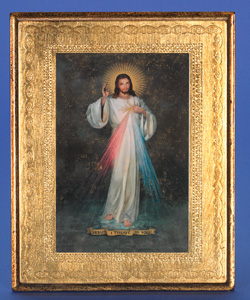 "Gold Leaf Florentine Plaque with Divine Mercy- 10"" Made in Florence, Italy"