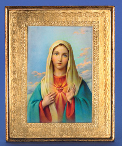 "Gold Leaf Florentine Plaque with Immaculate Heart of Mary- 10"" Made in Florence, Italy"