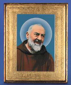 "Gold Leaf Florentine Plaque with Padre Pio- 10"" Made in Florence, Italy"