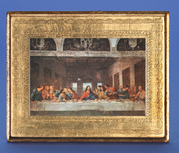 "Gold Leaf Florentine Plaque with the Last Supper- Da Vinci- 10"" Made in Florence, Italy"