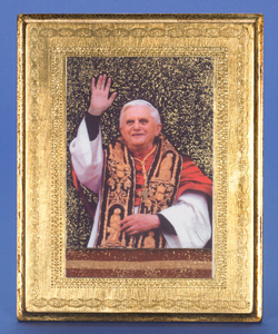 "Gold Leaf Florentine Plaque with Pope Benedict XVI- 10"" Made in Florence, Italy"