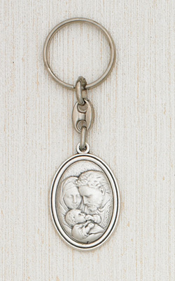 Silver Holy Family Keyring Boxed