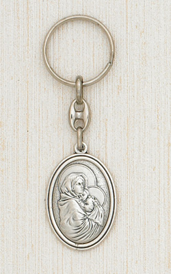 Silver Keyring with image of The Madonna of the Way Boxed