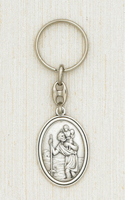 Silver Key Ring with image of St Christopher Boxed