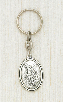 Silver Key Ring with image of St Michael Boxed