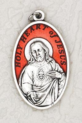 12-Pack - 1-1/2 inch Red Enamel Sacred Heart Pendant