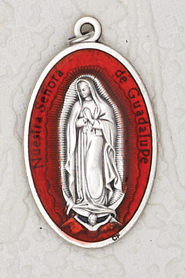 12-Pack - 1-1/2 inch Red Enamel Lady of Guadalupe Pendant