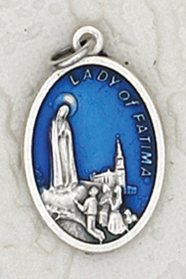 25-Pack - 3/4 inch Blue Enamel Lady of Lourdes Pendant