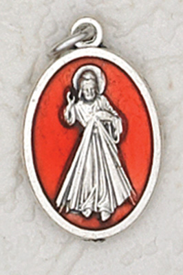 25-Pack - 3/4 inch Red Enamel Divine Mercy Pendant