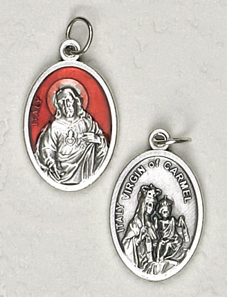 25-Pack - 3/4 inch Red Enamel Sacred Heart of Jesus