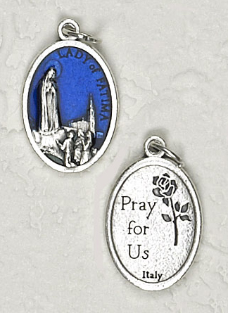 25-Pack - 3/4 inch Blue Enamel Our Lady of Fatima Pendant