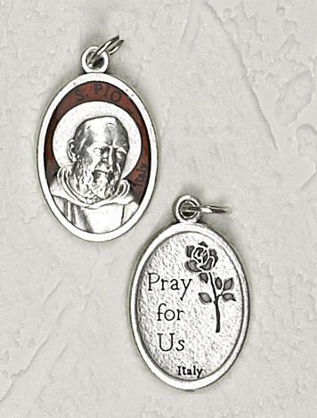 25-Pack - 3/4 inch Brown Enamel Padre Pio Pendant