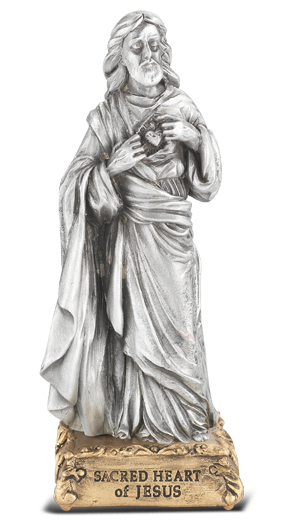 "4"" Pewter Statue Sacred Heart Gift Boxed"