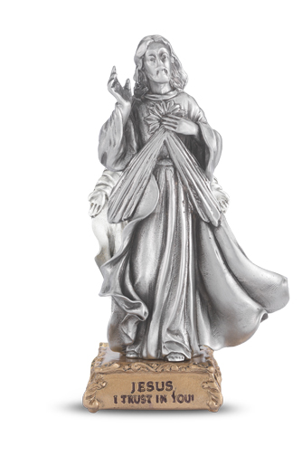 """4"""" Pewter Statue Divine Mercy Gift Boxed"""