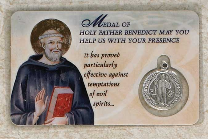25-Pack - Laminated St Benedict Prayer Card with St Benedict Pendant
