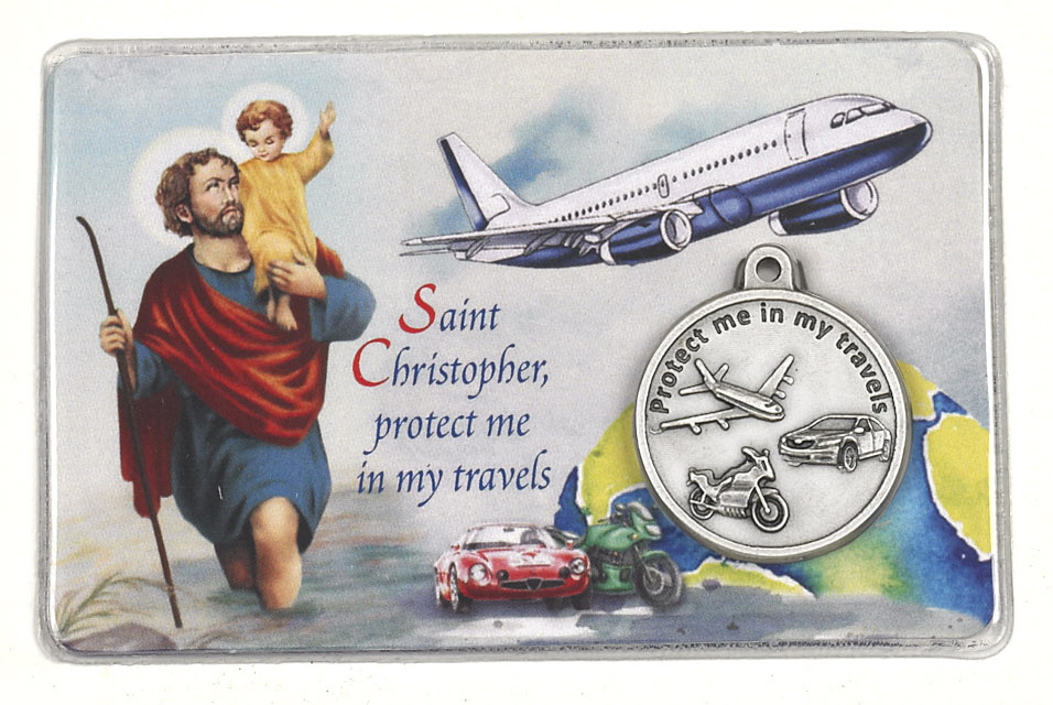 25-Pack - Laminated Traveler's Card with St Christopher and Saint Michael with Pendant and Traveler's Prayer