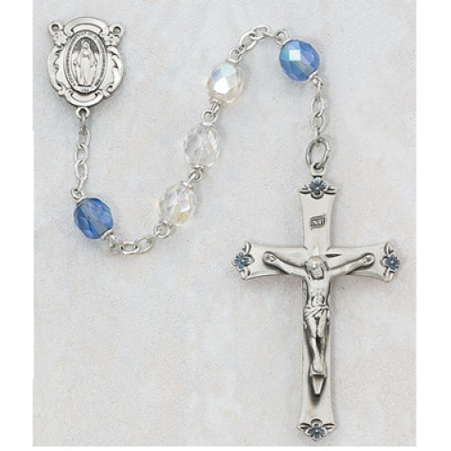 Sterling Silver 7MM AB Crystal/Blue Rosary