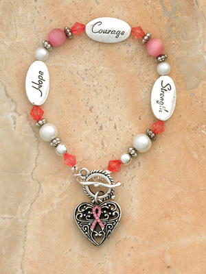 Bracelet- Breast Cancer- Hope Strength Courage Boxed