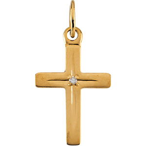 14K Gold Children's Cross with Diamond Pendant