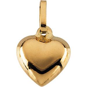 14K Gold Children's Puffed Heart Pendant
