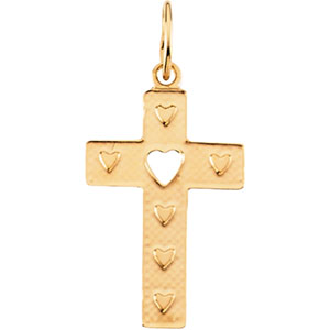 14K Gold Children's Cross with Heart Pendant