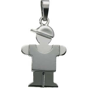 14K White Gold Kids Hugs Boy Pendant