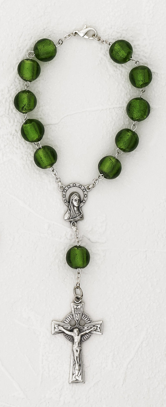 Irish Murano Glass Celtic Auto Rosary