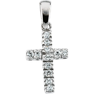 "14K Gold Children's Cross With CZ And With 15"" Chain"
