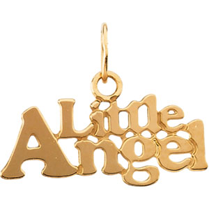 "14K Gold Children's ""Little Angel"" Pendant With 15"" Chain"