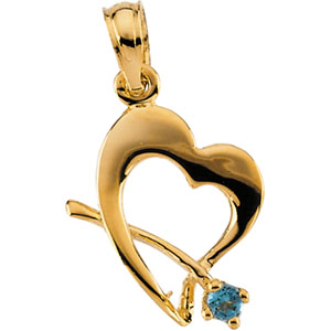 14K Gold Children's Genuine May Birthstone Pendant