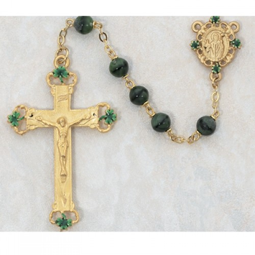 7MM Gold Green Glass Rosary