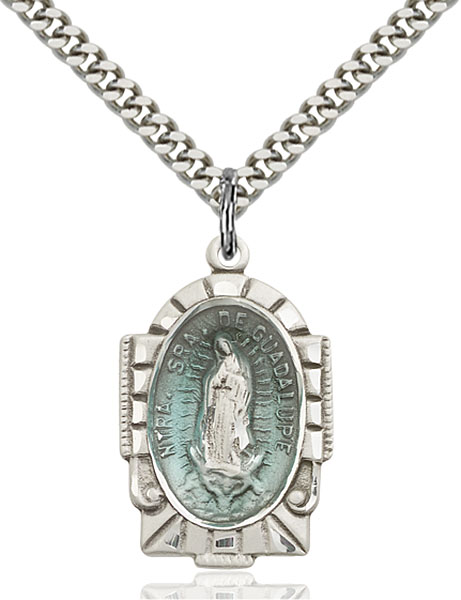 Sterling Silver Our Lady of Guadalupe Blue Epoxy Pendan