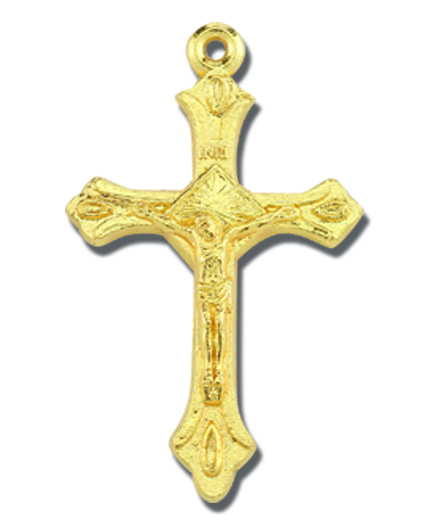 "1"" Oxidized Crucifix Gold Color 25-Pack"