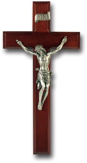 "11"" Dark Cherry Wood Cross With Pewter Corpus"