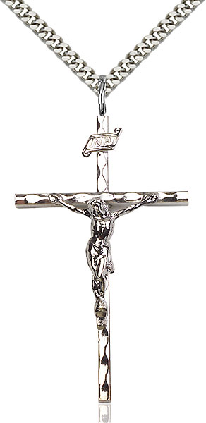 Sterling Silver Knurled Crucifix Pendant