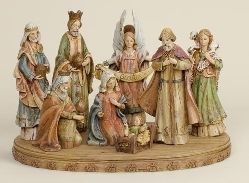 8Pc St 12-In Wood-Lk Nativity