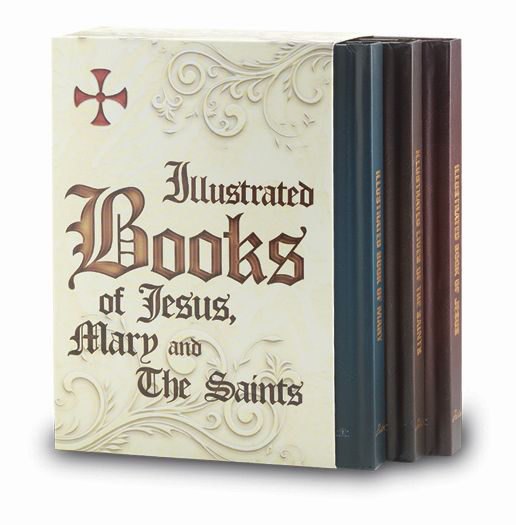 Illustrated Book Of Jesus, 1 Of Mary And 1 Of Saints Set