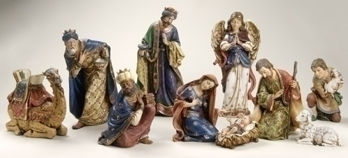 10Pc St 4-inch -19-inch Ornate Nativty