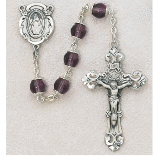 Sterling Silver 6MM Amethyst Capped Rosary