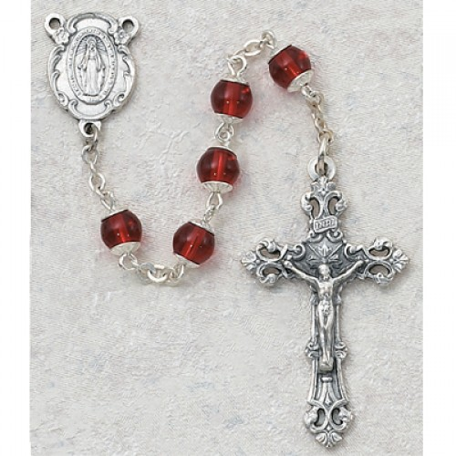 6MM Ruby Capped Rosary