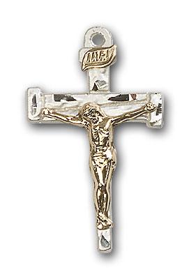 Two-Tone GF/SS Nail Crucifix Pendant