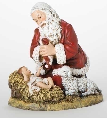 13-inch Kneeling Santa With Lamb Fig