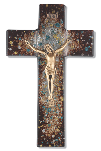 "10"" Brown/Speckled Glass Cross with Museum Gold Corpus"