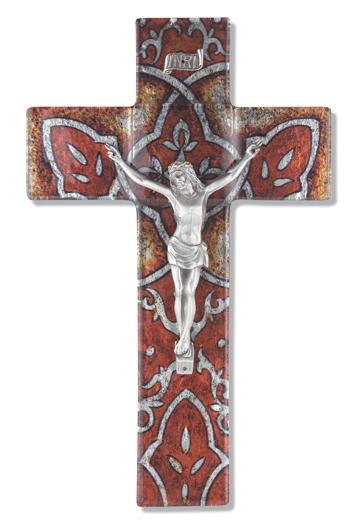 "10"" Burnt Orange Glass Cross with Pewter Corpus"