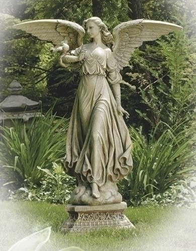 46.5-inch Angel On Pedestal Garden