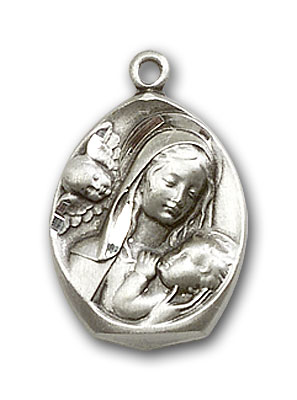 Sterling Silver Madonna & Child Pendant