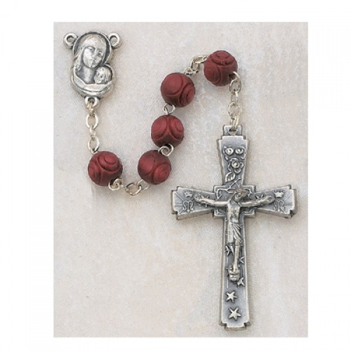 7MM Carved Red Wood Rosary